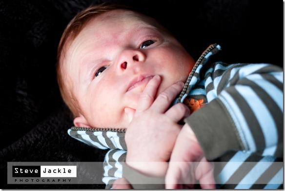 Campbell contemplating life  during his new born session - by Raleigh NC portrait Photographer Steve Jackle.