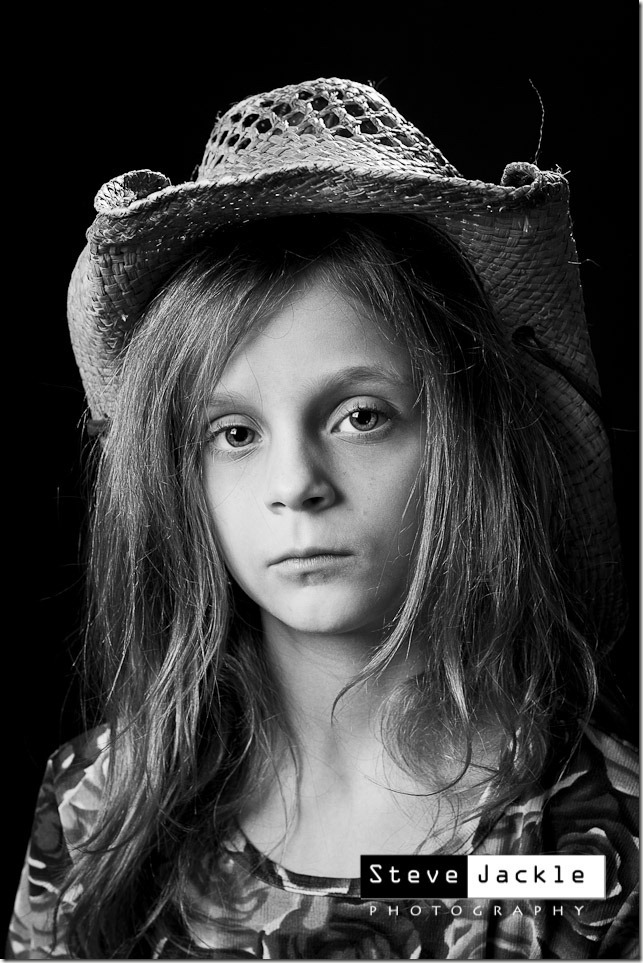 black and white cowgirl portrait  - Steve Jackle photography - www.stevejackle.com